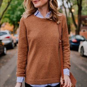 J. Crew cotton wool camel teddie sweater